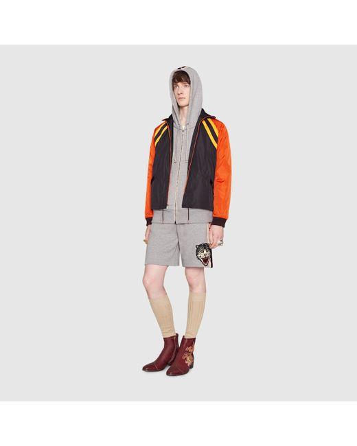メンズ Gucci グッチグッチ ストライプ コットン ショートパンツ Gray