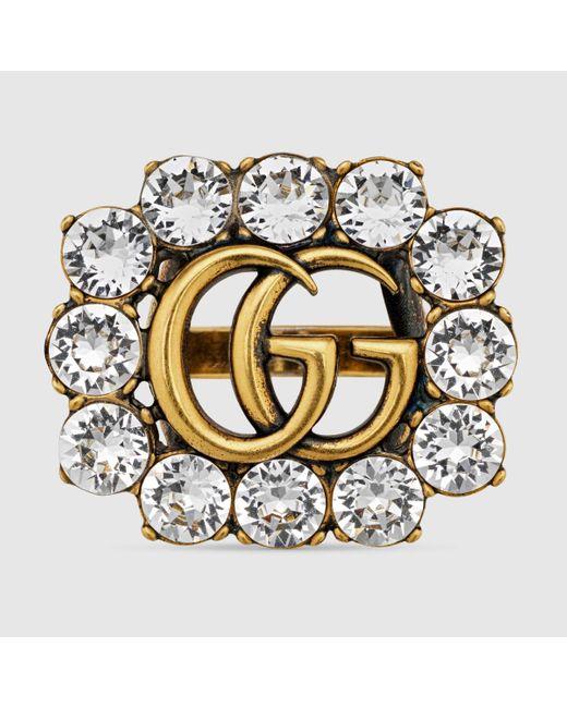 Gucci グッチクリスタル ダブルg リング Metallic