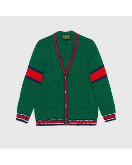 メンズ Gucci 【公式】 (グッチ)diy ユニセックス ウール カーディガングリーンにホワイトのアルファベットグリーン Green