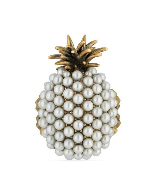 Gucci | Metallic Pearl Studded Pineapple Ring In Metal | Lyst