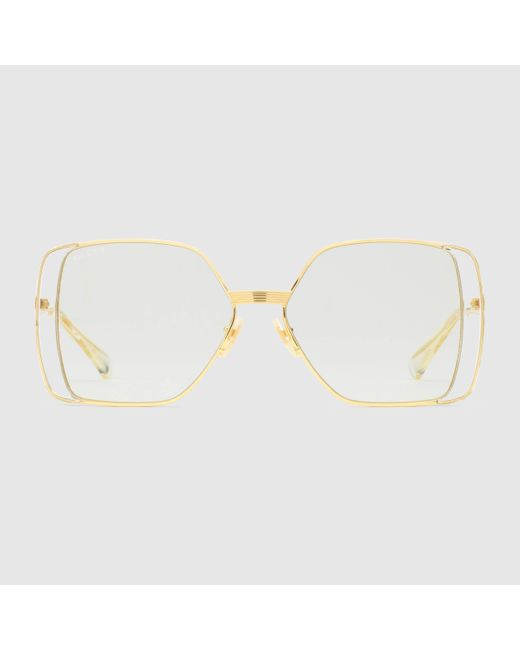Gucci 【公式】 (グッチ)スクエアフレーム サングラスゴールド メタルゴールド Multicolor