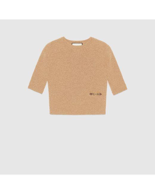 Gucci 【公式】 (グッチ)ホースビット付き カシミア トップベージュブラウン Gray