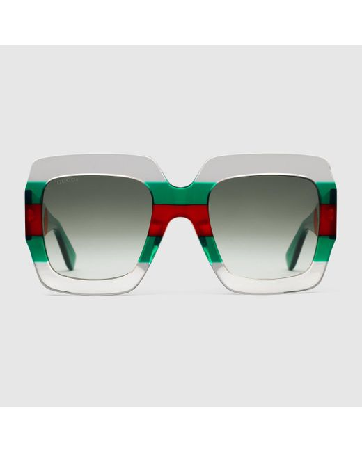 Gucci 【公式】 (グッチ)スクエアフレーム アセテート サングラスクリア アセテートグリーン Green