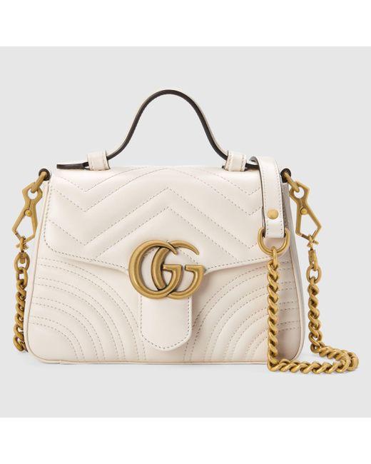 Gucci グッチ〔GGマーモント〕ミニ トップハンドルバッグ White