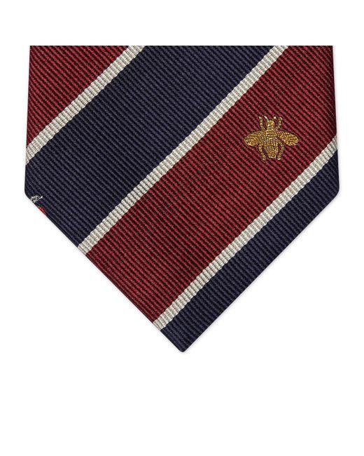 Corbata de seda con motivo de símbolos Gucci de hombre de color Blue