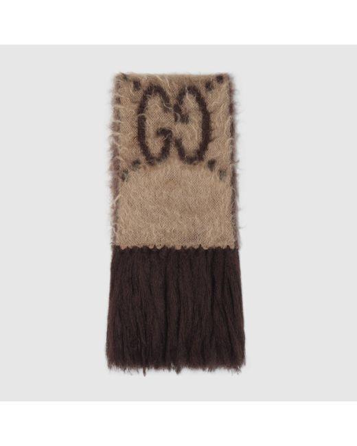 Gucci 【公式】 (グッチ)GG モヘア ウール スカーフベージュ&ダークブラウンベージュ Multicolor