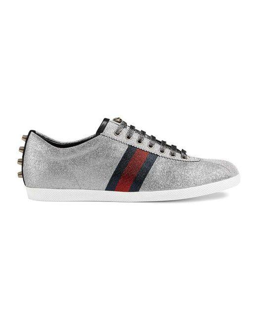 1c3e965ae Gucci - Glitter Web Sneaker With Studs in Blue for Men - Lyst