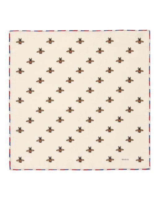 Carré de soie pour pochette à imprimé abeilles Gucci pour homme en coloris White