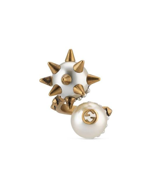 Gucci | Metallic Ring With Double Glass Pearl | Lyst