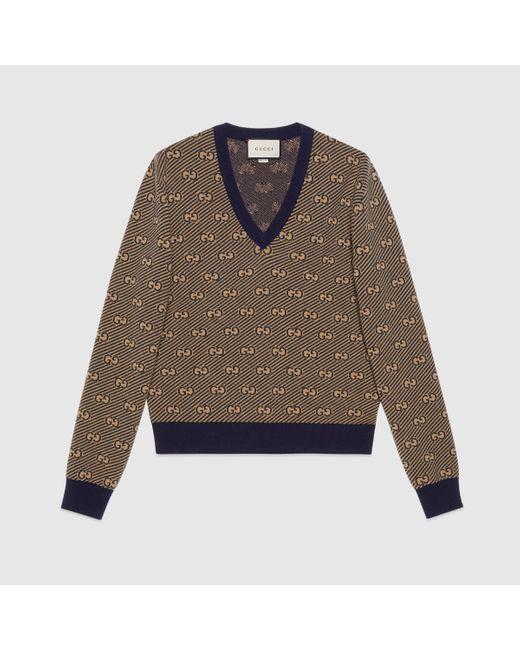 メンズ Gucci グッチGGストライプ ウール Vネック セーター Multicolor