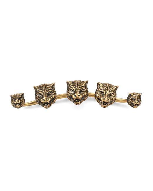 Gucci | Metallic Multi-finger Ring With Feline Heads | Lyst