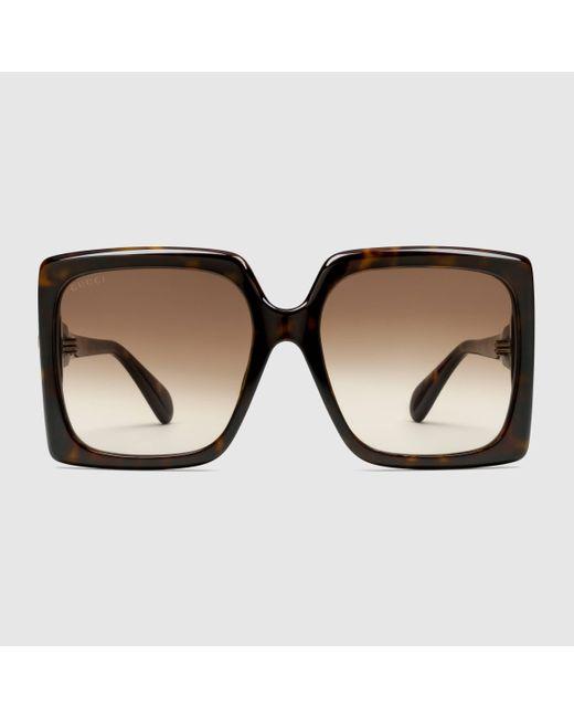 Gucci 【公式】 (グッチ)スクエアフレーム サングラス(アジアン フィット)トータスシェル&ブラウンブラウン Multicolor