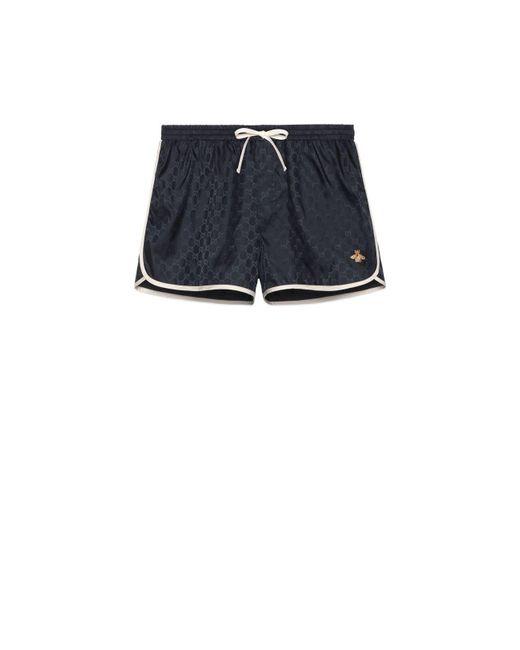 Gucci Blue GG Nylon Swim Short With Bee for men