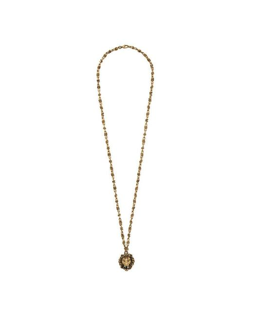 Gucci - Metallic Lion Head Necklace With Pearl - Lyst