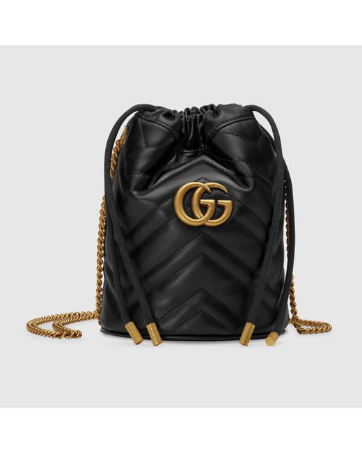 Gucci Black Mini GG Marmont Bucket Bag