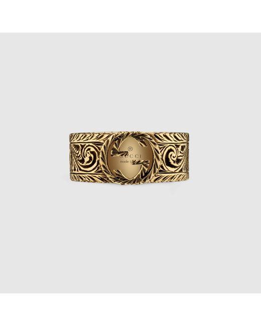 メンズ Gucci グッチイエローゴールド インターロッキングgモチーフのリング Metallic