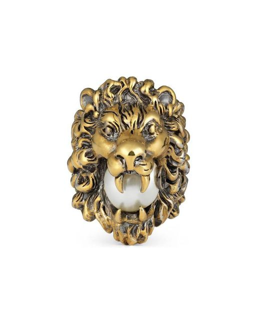 Gucci - Metallic Lion Head Ring With Glass Pearl - Lyst