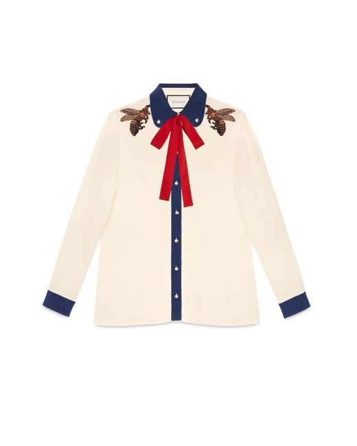 Gucci | Multicolor Embroidered Silk Shirt | Lyst