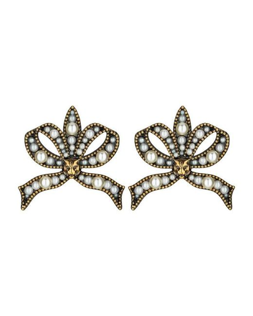 Gucci - Metallic Bow Earrings With Pearls - Lyst