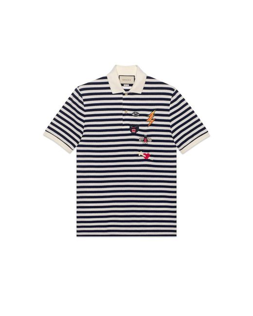 0531a562 Gucci - Blue Cotton Polo With Embroideries for Men - Lyst ...