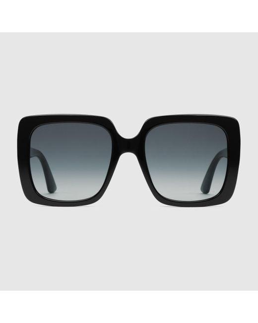 Gucci 【公式】 (グッチ)スクエアフレーム アセテート サングラスシャイニーブラック アセテートブラック Black