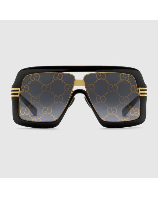 Gucci 【公式】 (グッチ)GGレンズ スクエアフレーム サングラスブラック&グレーブラック Multicolor