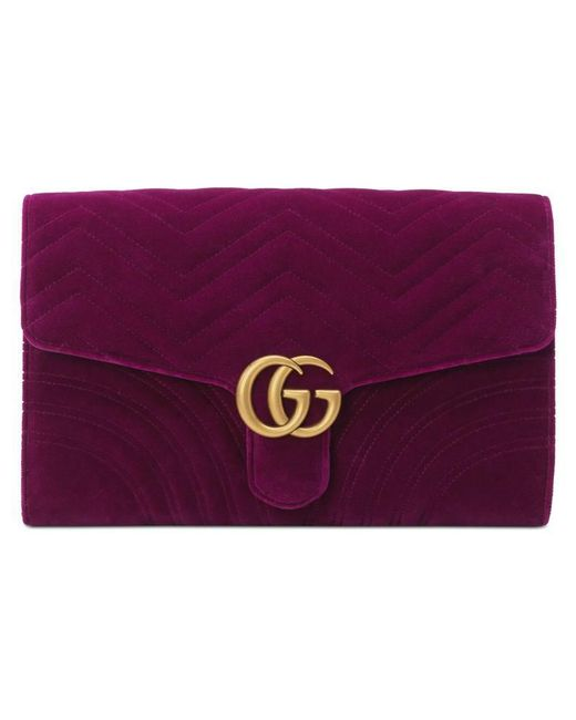 f2a73afbc65 Lyst - Gucci Gg Marmont Velvet Clutch in Purple
