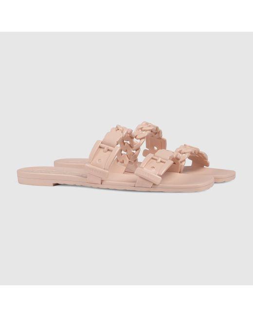 Gucci グッチラバー ウィメンズ スライドサンダル Pink