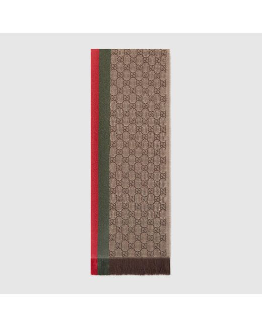 メンズ Gucci グッチGGパターンマフラー(ウェブ/フリンジ) Natural