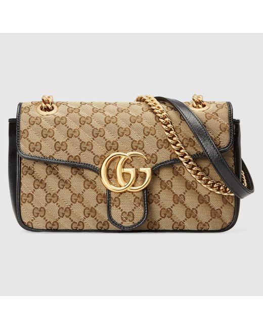 Gucci 【公式】 (グッチ)〔GGマーモント〕スモール ショルダーバッグベージュ/エボニー GGキャンバスベージュ Natural