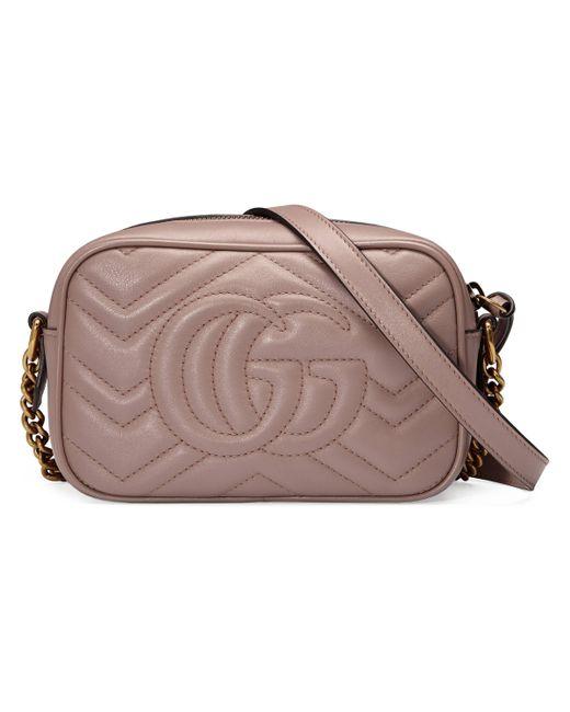 Gucci Multicolor Kleine GG Marmont Schultertasche aus Matelassé
