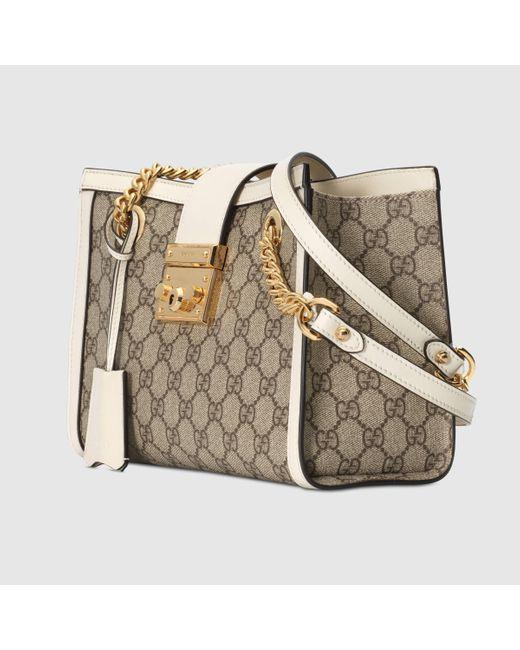 Gucci Natural Mittelgroße Padlock Schultertasche mit GG
