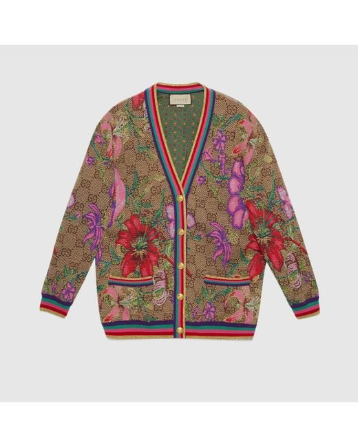 Gucci グッチGGフローラ ウールジャカード カーディガン Multicolor