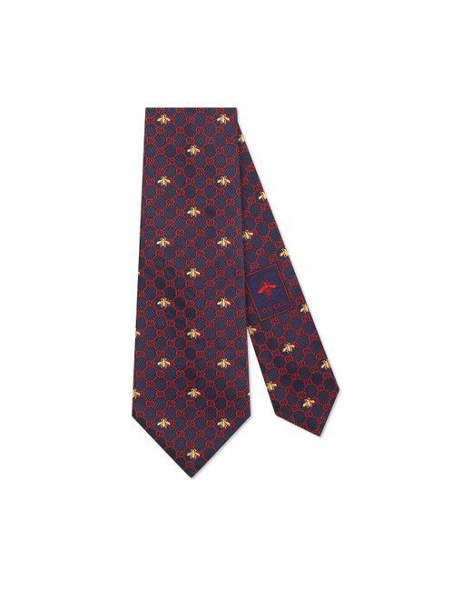 Gucci Purple GG Bees Silk Tie for men