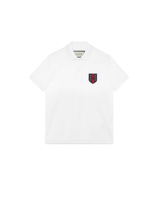e91d6085d ... Collar Polo Shirt · Gucci White Cotton Polo With Web Crest For Men Lyst  ...