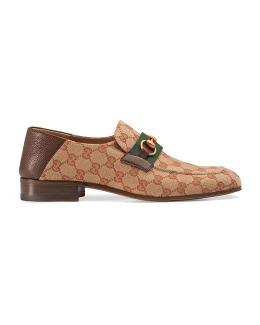 Mocasín de Lona con Horsebit y GG Gucci de hombre de color Natural