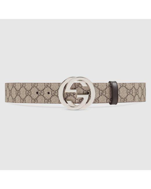 メンズ Gucci グッチ公式GGスプリーム ベルト(g バックル)ベージュ/エボニー GGcolor_descriptionGGキャンバス Multicolor