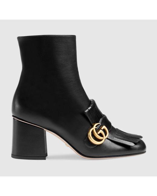 Gucci ブラック GG アンクル ブーツ Black
