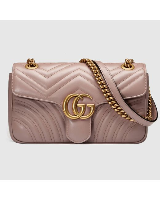 Gucci 【公式】 (グッチ)〔GGマーモント〕キルティング ショルダーバッグダスティピンク レザーピンク Pink