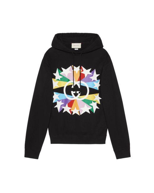 Gucci Black Interlocking G Star Burst Print Cotton Sweatshirt for men