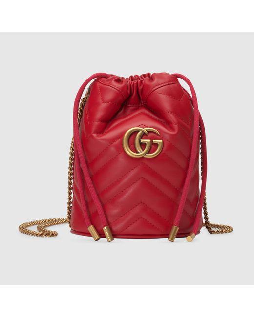 Gucci 〔GGマーモント〕ミニ バケットバッグ Red