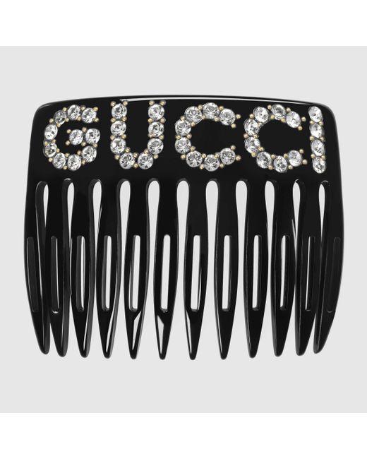 Gucci グッチクリスタル グッチ ヘアコーム Black