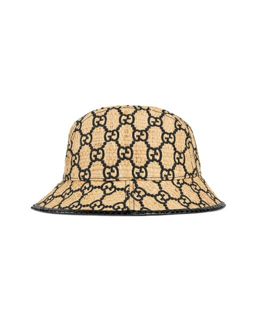Gucci Natural GG Fedora Hat With Snakeskin