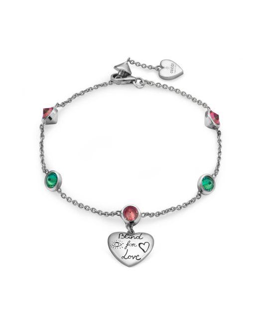 Gucci - Metallic Blind For Love Bracelet In Silver - Lyst