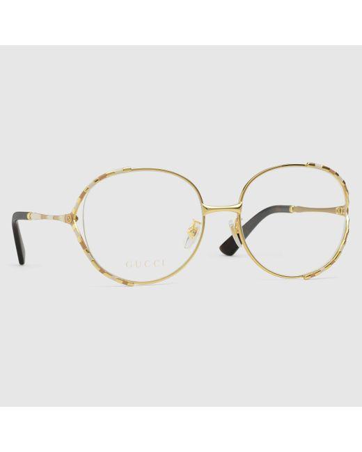 Gucci 【公式】 (グッチ)オンライン限定 ラウンド オプティカルフレーム(アジアン フィット)ゴールド メタルゴールド Multicolor