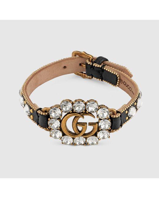 Gucci グッチダブルg レザー ブレスレット Metallic