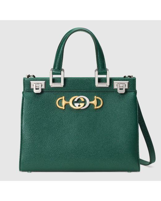 Gucci 【公式】 (グッチ)〔グッチ ズゥミ〕スモール トップハンドルバッグダークグリーン グレインレザーグリーン Green