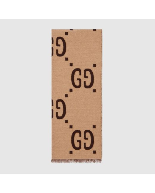Gucci 【公式】 (グッチ)GGジャカード ウールシルク スカーフブラウン/ベージュベージュ Multicolor