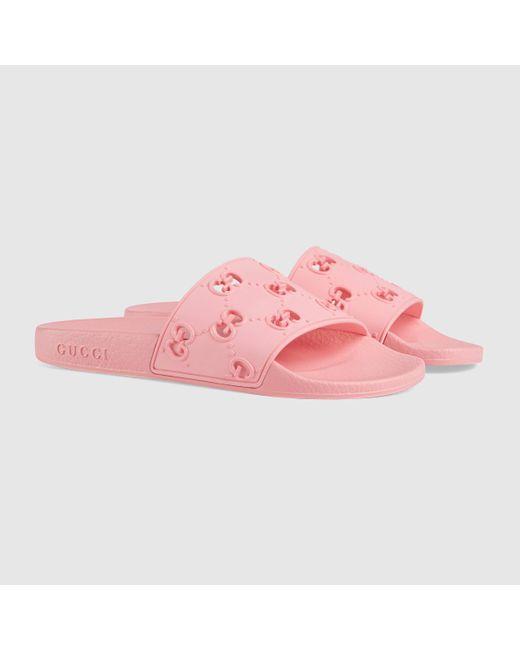 Gucci グッチラバー GG ウィメンズ スライドサンダル Pink