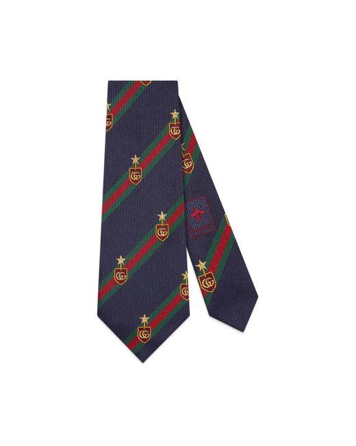 Gucci Blue Web Crest Silk Tie for men